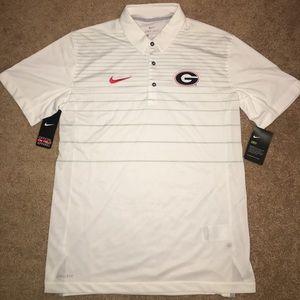 Nike White Georgia Bulldogs Stripe Polo Men's M